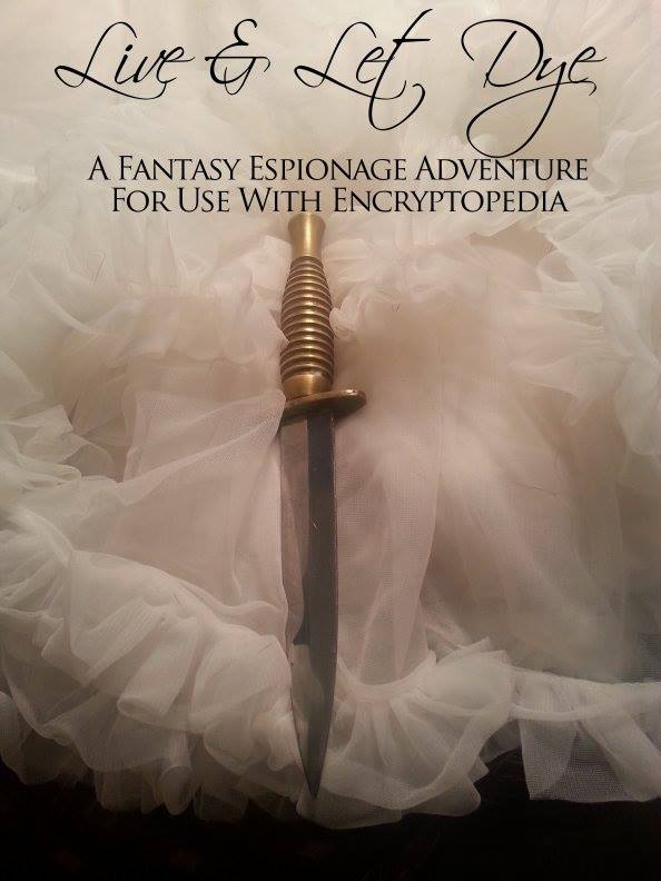 A picture of a dagger amongst the folds of a frilly petticoat.