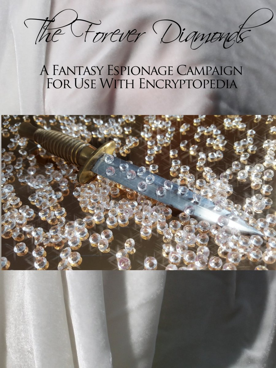 A picture of a dagger on a golden surface with diamonds scattered over it.